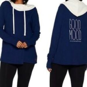 Peace love world good mood navy waffle knit medium